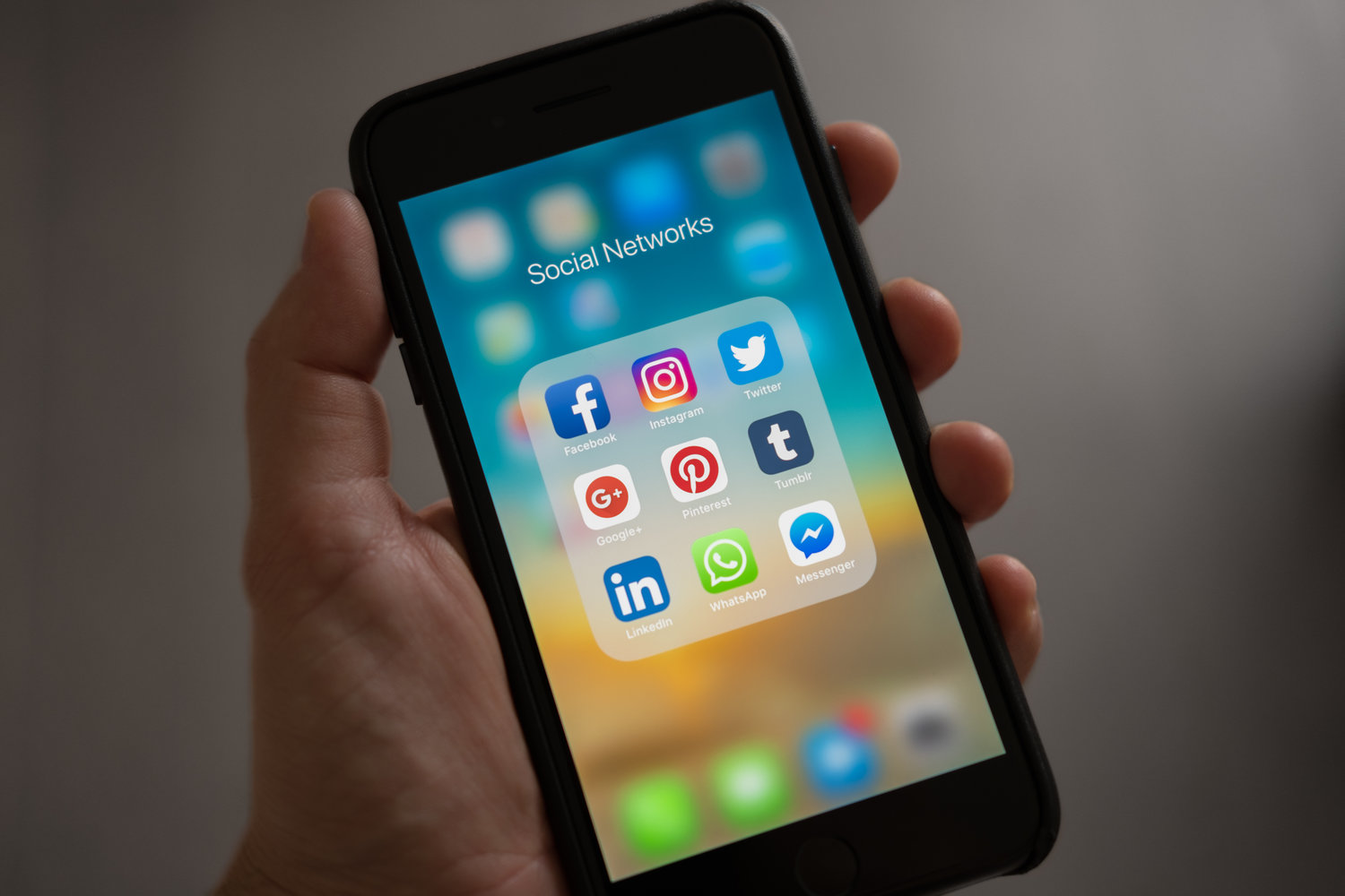 social media applications on a mobile device